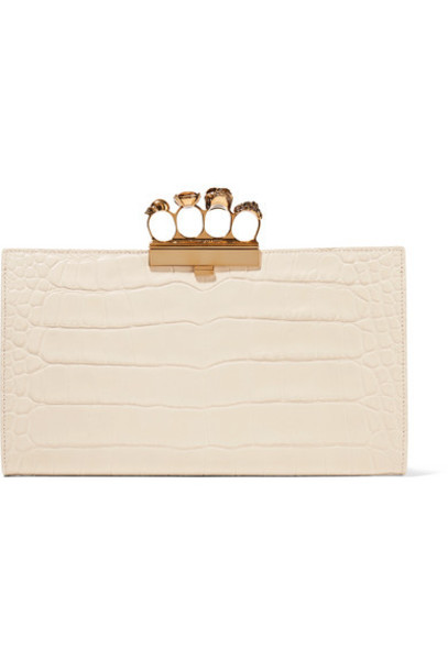 Alexander McQueen - Four Ring Embellished Croc-effect Leather Clutch - White