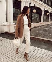 pants,high waisted pants,ankle boots,snake print,white bag,handbag,blazer,white sweater