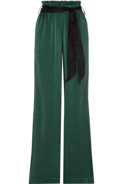 ASCENO - Belted Washed-silk Wide-leg Pants - Forest green