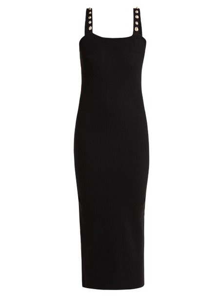 Staud - Rio Shell Trimmed Ribbed Knit Dress - Womens - Black