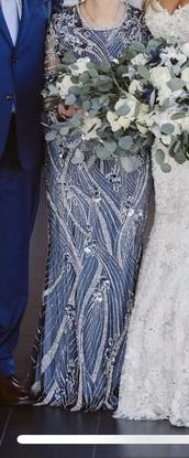 dress,mother of bride,blue dress,jewels,formal dress,long sleeves