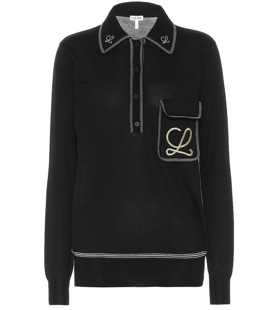 Loewe Embroidered cotton sweater in black