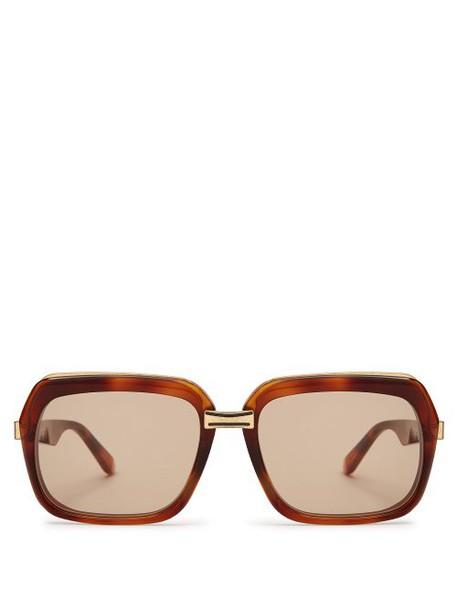 Celine Eyewear - Oversized Square Frame Acetate Sunglasses - Womens - Tortoiseshell