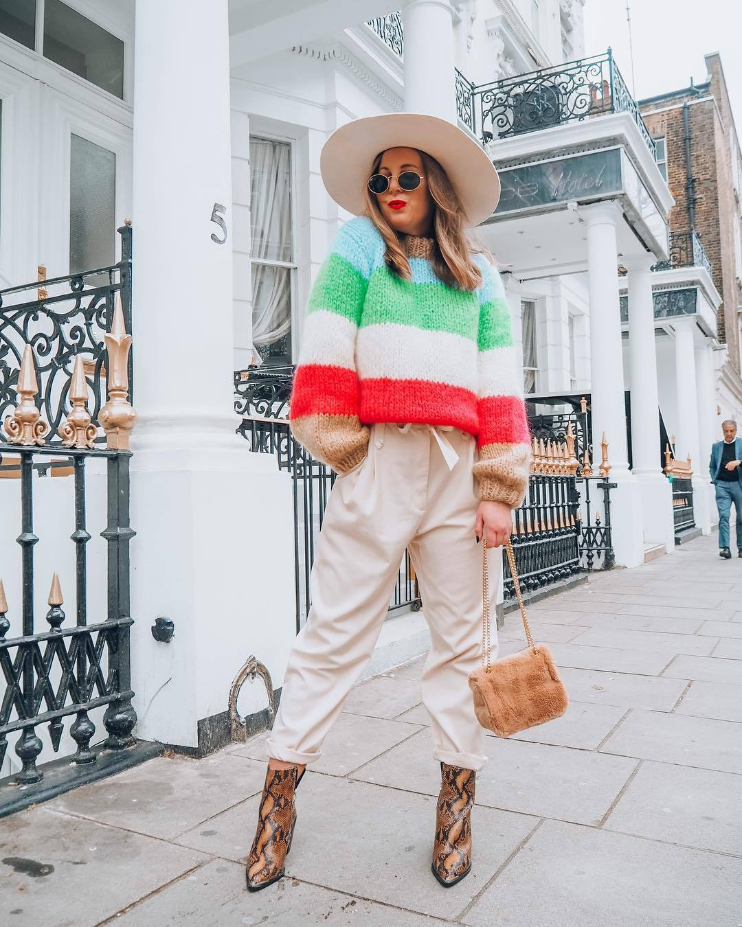 sweater striped sweater knitted sweater snake print ankle boots brown boots pleated high waisted pants furry bag felt hat