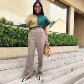 pants,high waisted pants,pleated,pumps,brown bag,blouse,turtleneck
