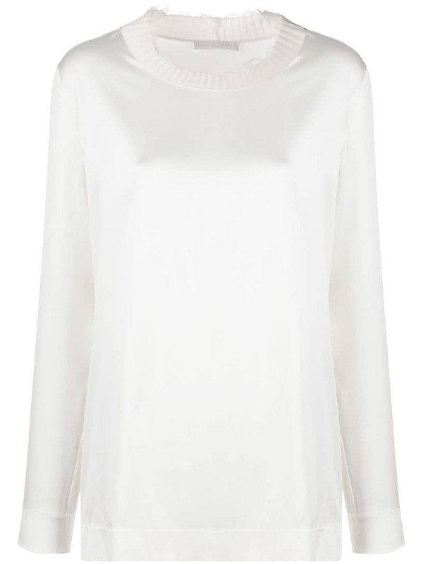 Fabiana Filippi distressed detail contrast neck blouse in white