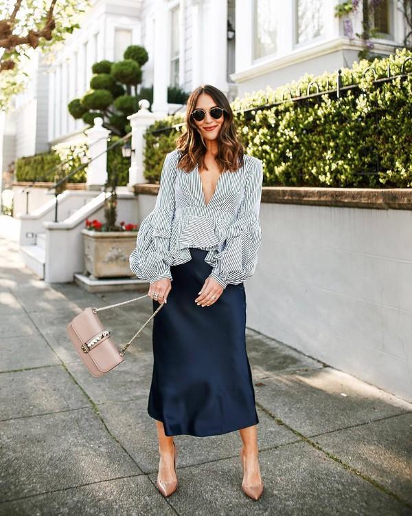 skirt midi skirt satin blue skirt blouse v neck puffed sleeves pumps bag