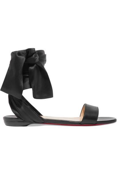 Christian Louboutin - Sandale Du Desert Leather And Satin Sandals - Black