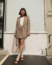 jacket,plaid blazer,mini skirt,plaid skirt,mango,sandals,socks,shoulder bag,white t-shirt