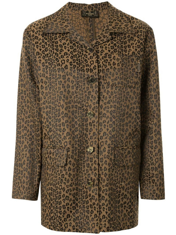 Fendi Pre-Owned leopard print straight jacket in brown