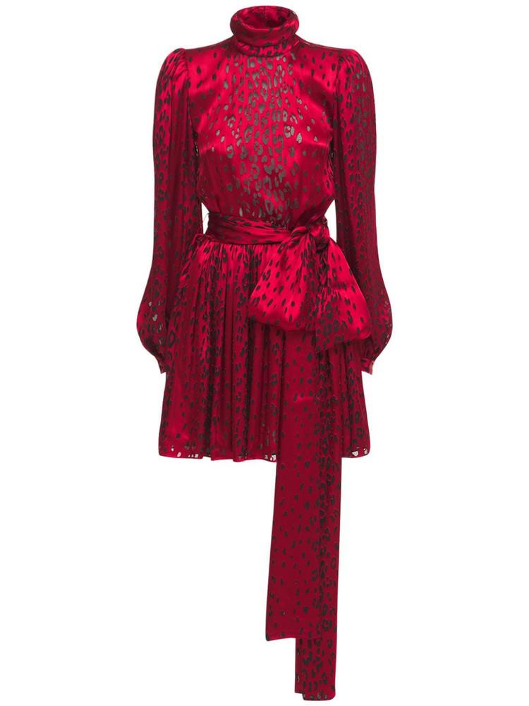 SAINT LAURENT Leopard Print Silk Satin Mini Dress in black / red