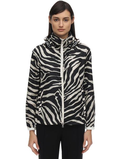 MONCLER Pomme Zebra Printed Nylon Jacket in black / white
