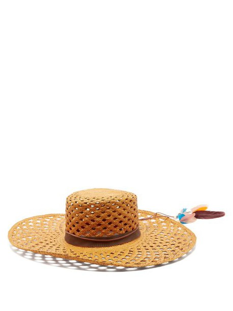 House Of Lafayette - Reed 1 Feather Trimmed Straw Panama Hat - Womens - Tan