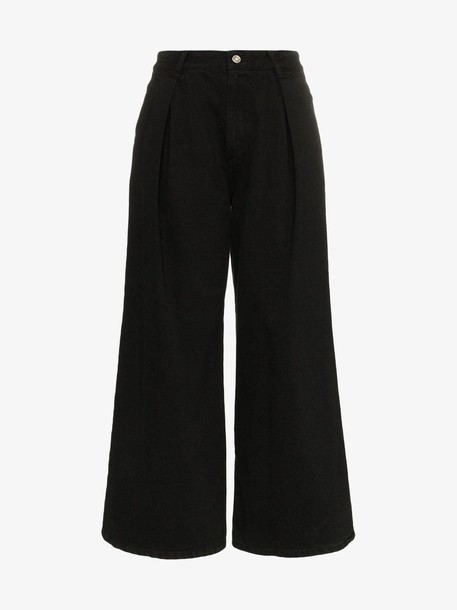 SJYP high waisted wide leg jeans in black