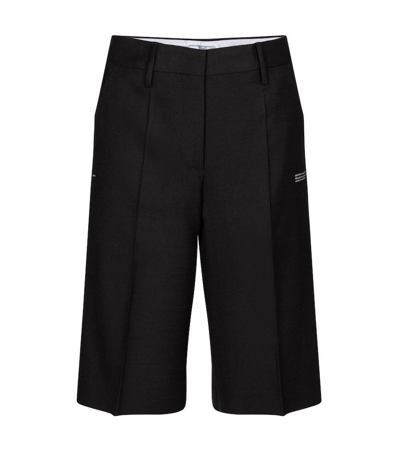 Off-White Mid-rise wool-blend shorts in black