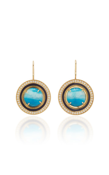 Andrea Fohrman Chrysocolla Black Enamel Earrings in multi