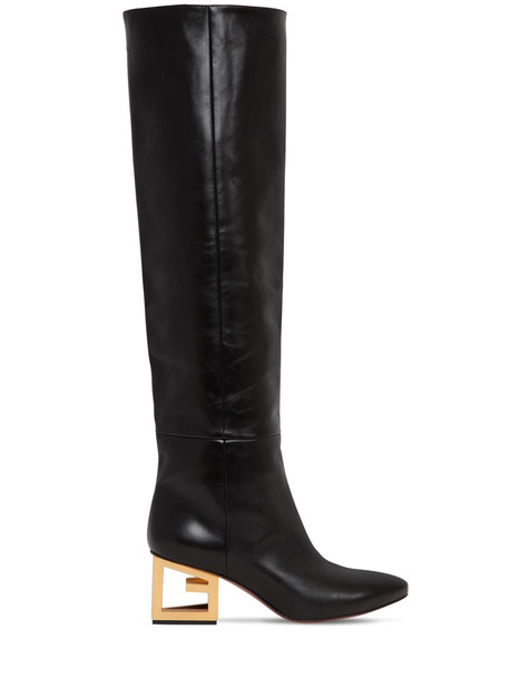 GIVENCHY 60mm Leather Boots W/triangle Logo Heel in black