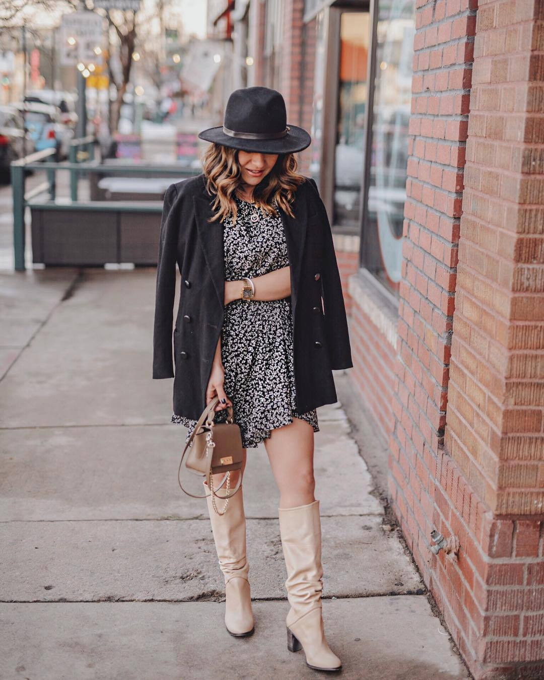 dress mini dress free people knee high boots heel boots bag black coat double breasted hat