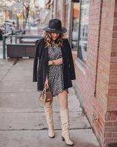 dress,mini dress,free people,knee high boots,heel boots,bag,black coat,double breasted,hat