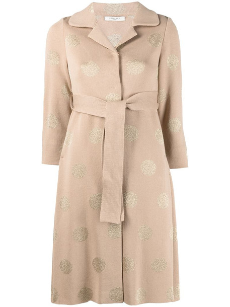 Charlott polka-dot cardi-coat in neutrals