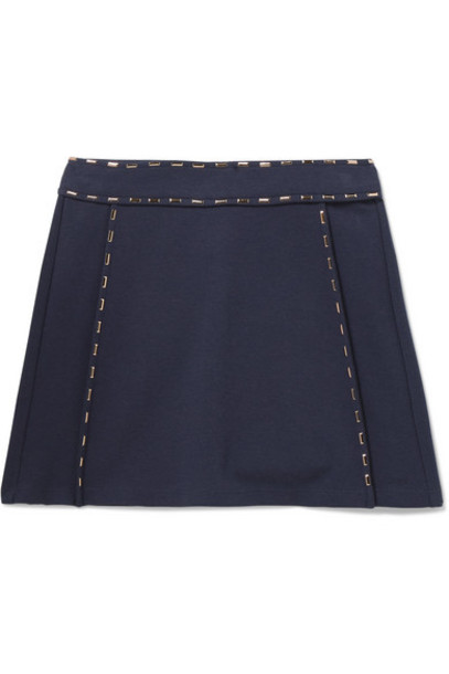 Chloé Kids - Ages 6 - 12 Embellished Stretch-jersey Skirt in navy