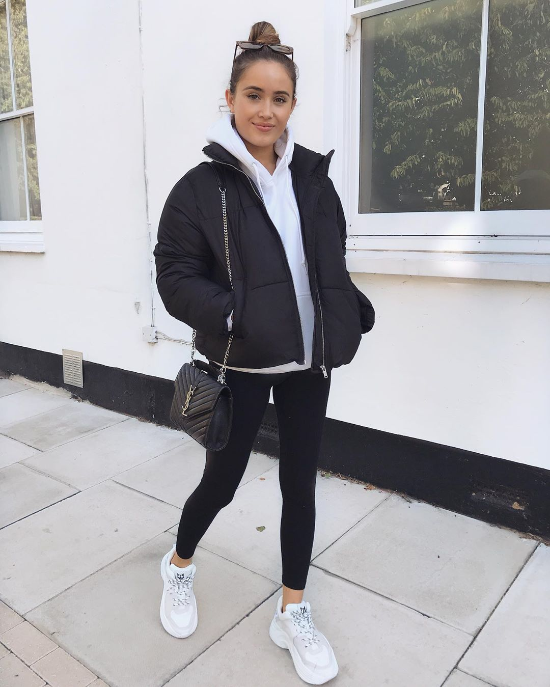 shoes white sneakers black leggings black bag ysl bag bomber jacket black jacket puffer jacket hoodie