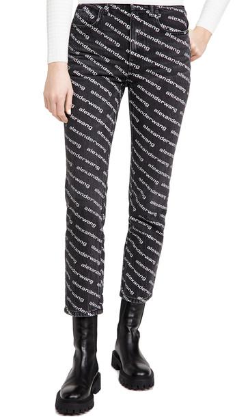 Denim x Alexander Wang High Rise Slim Jeans in grey / white