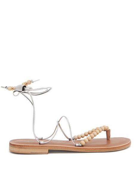 Álvaro Álvaro - Akaiah Beaded Wraparound Metallic-leather Sandals - Womens - Silver