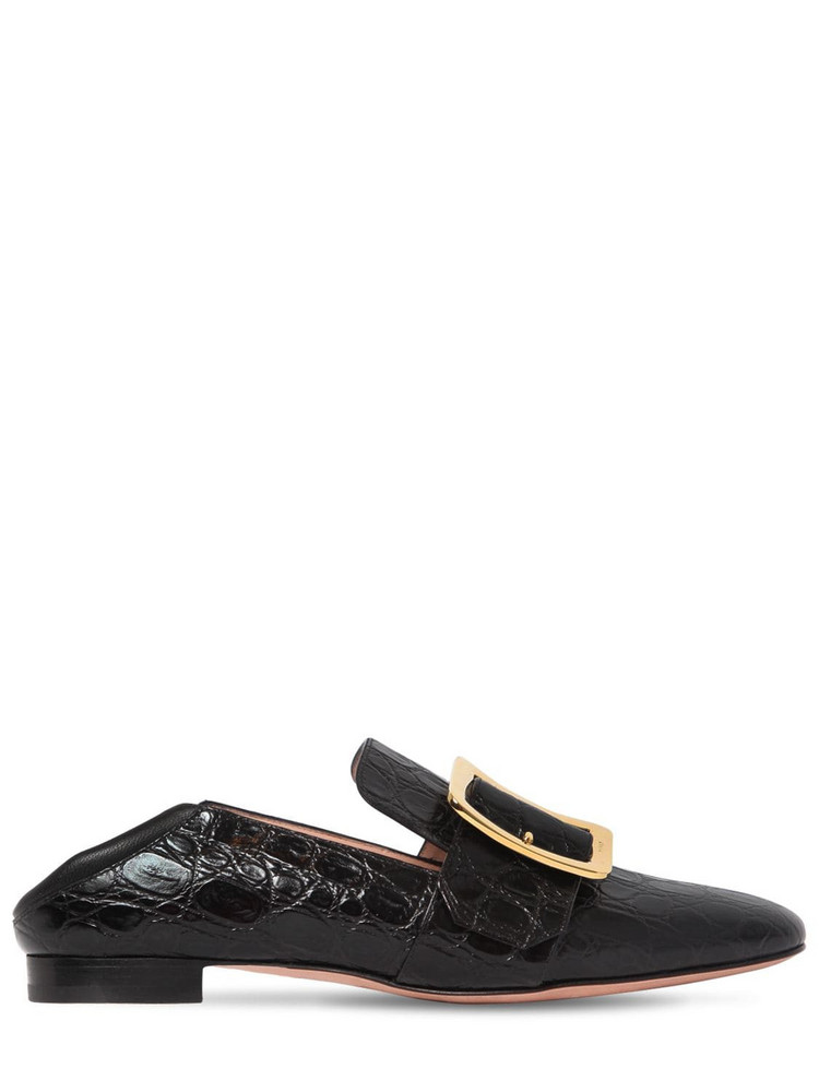 BALLY 10mm Janelle Embossed Leather Loafers in black