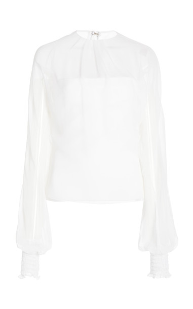 Cushnie High Neck Silk Chiffon Top in white