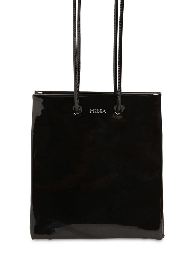 MEDEA Vinyl Bag W/ Long Shoulder Strap in black