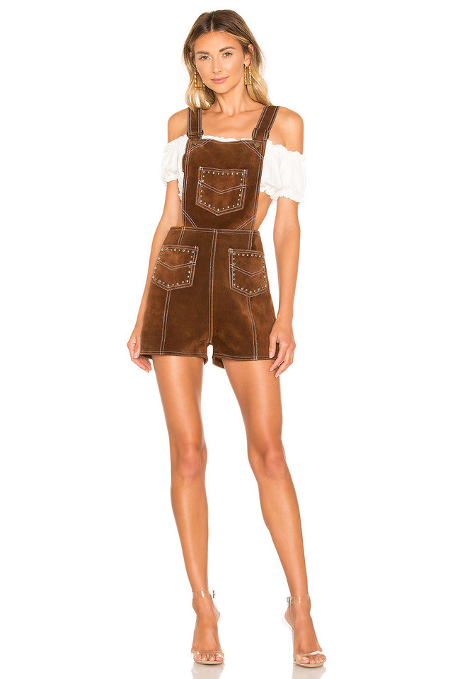 Understated Leather Suede Studded Romper in brown
