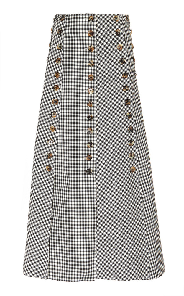 A.W.A.K.E. MODE Gingham Paneled Woven-Cotton Maxi Skirt Size: 34 in black