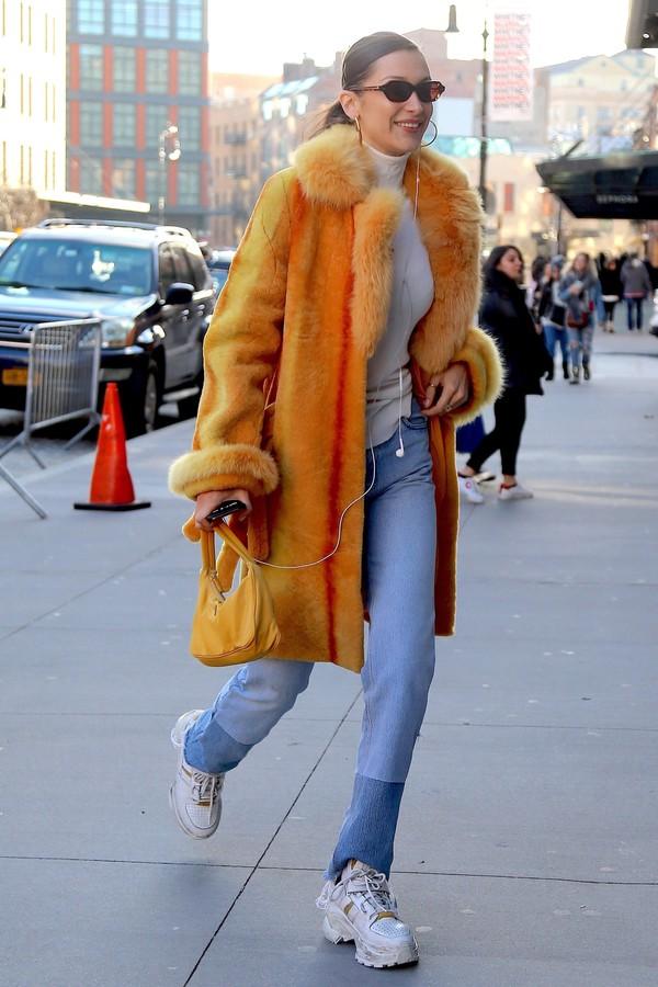 jeans coat orange bella hadid model off-duty celine turtleneck