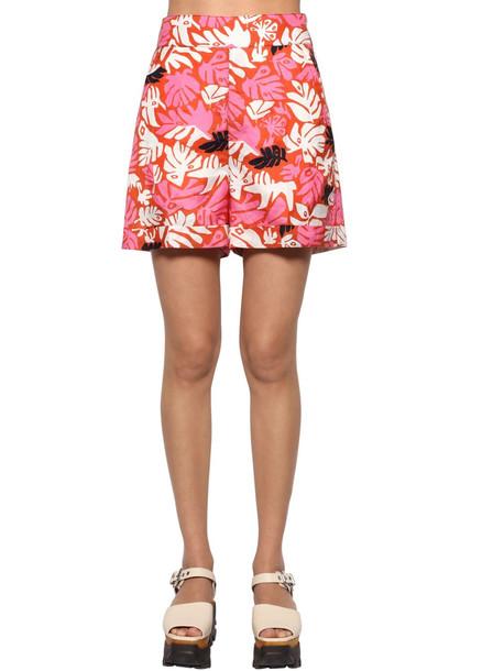 MARNI Woven High Waist Printed Shorts in pink / multi