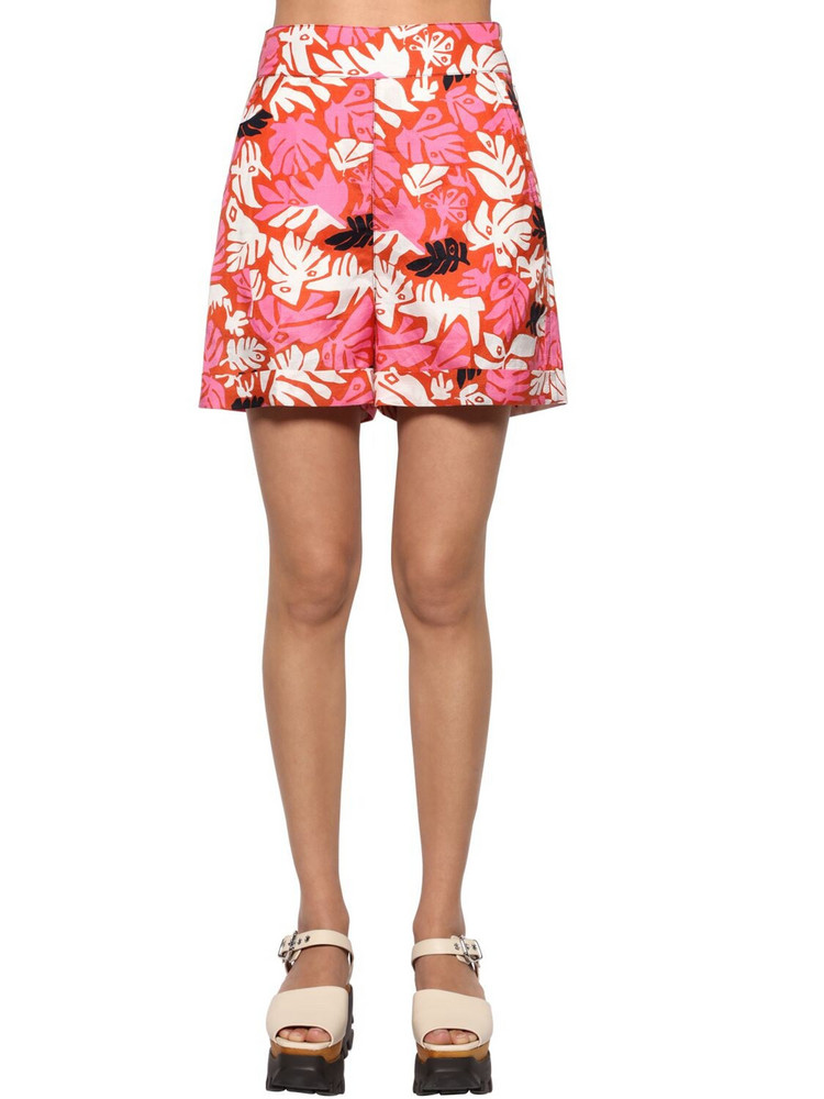MARNI Woven High Waist Printed Shorts in pink / multi