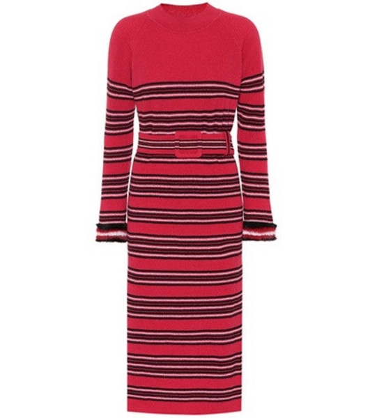 Fendi Striped wool and cashmere dress in pink