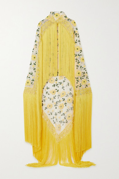 Naeem Khan - Fringed Embroidered Tulle Cape - Yellow