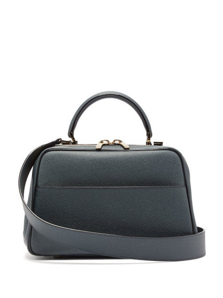 Valextra - Serie S Medium Grained Leather Bag - Womens - Navy