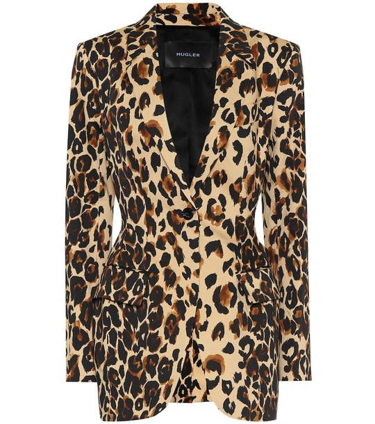 Mugler Leopard-print cotton blazer in brown