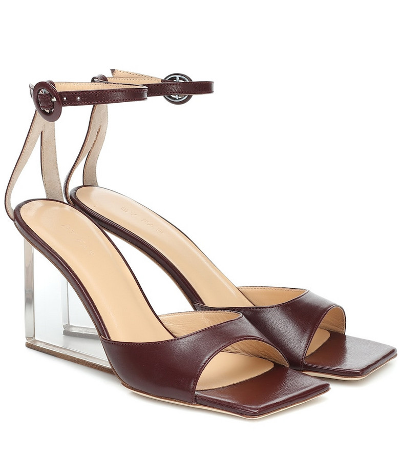 By Far Dima leather wedge sandals in brown