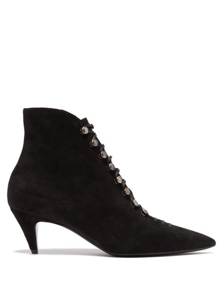 Saint Laurent - Ally Lace Up Suede Ankle Boots - Womens - Black