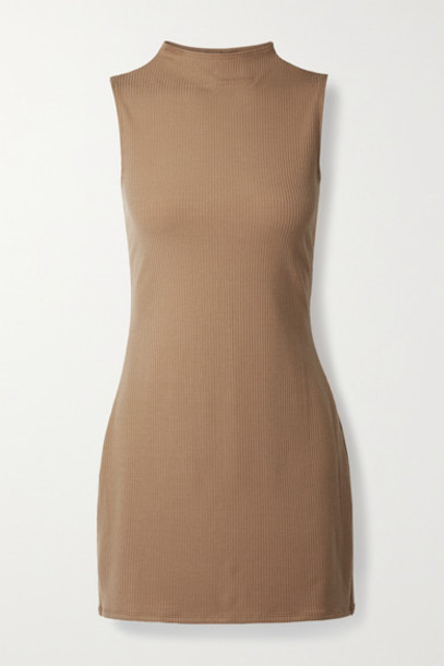 Reformation - Sana Ribbed Stretch-tencel Lyocell Jersey Mini Dress - Camel