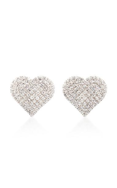 Alessandra Rich Small Heart Earrings in silver