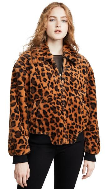 J.O.A. J.O.A. Leopard Faux Fur Bomber