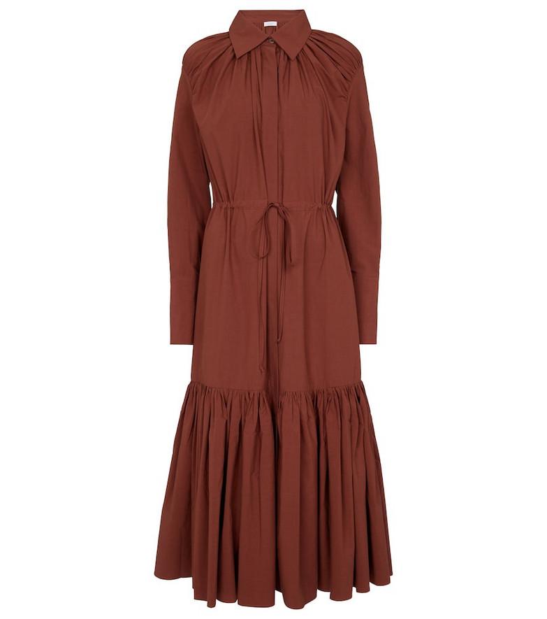 Deveaux New York Samira cotton shirt dress in brown