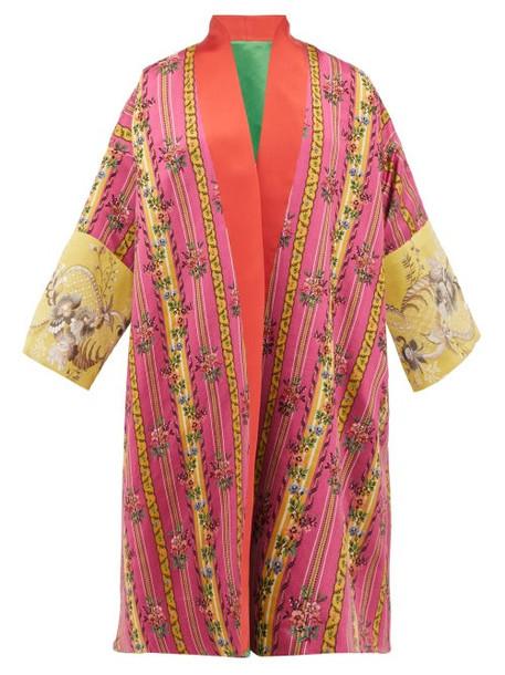 Rianna + Nina Rianna + Nina - Vintage Floral Jacquard Silk Robe Coat - Womens - Green Multi
