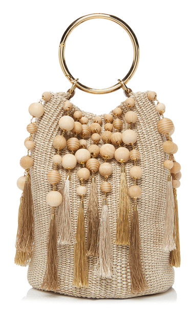 Rosantica Lexy Tassel Woven Bucket Bag in neutral