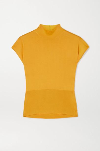 Dolce & Gabbana - Paneled Silk Top - Mustard