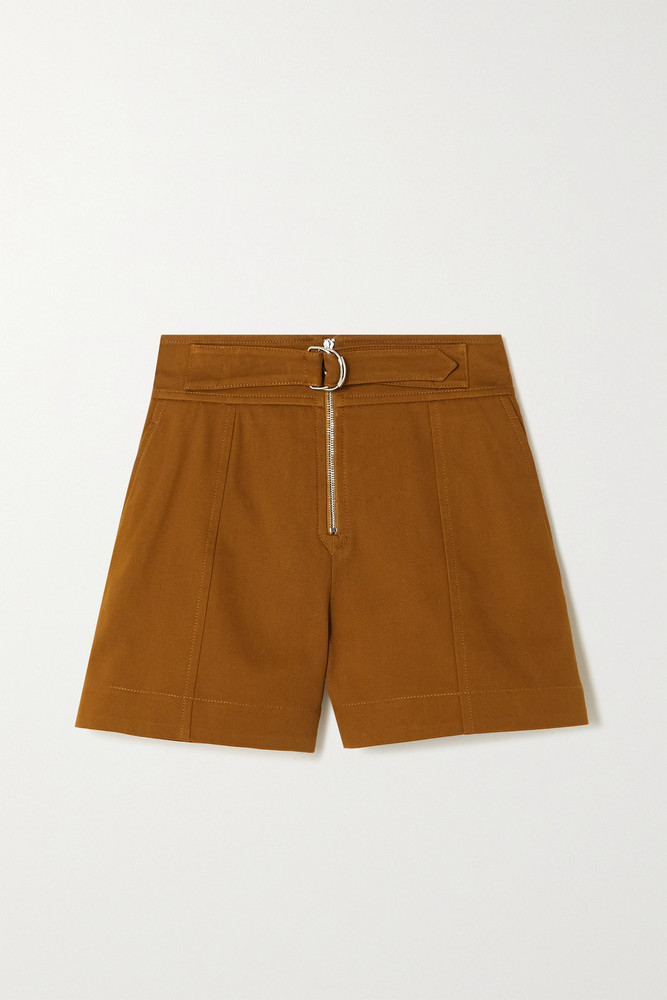 CHLOÉ CHLOÉ - Belted Cotton-drill Shorts - Brown